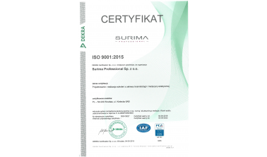Certyfikat ISO dla centrum szkoleniowego Surima Professional